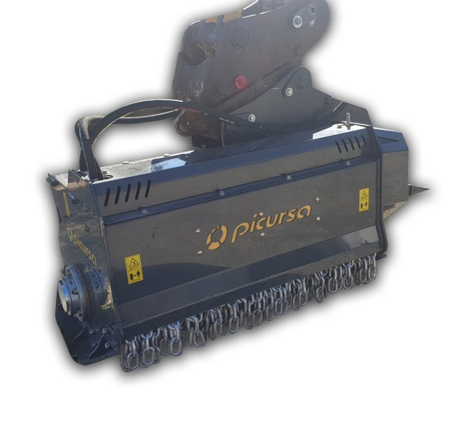 Fixed tooth excavator mulcher with hitch and foot