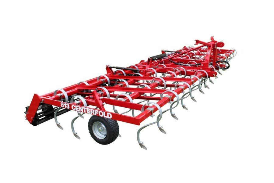 Folding spring tine cultivator with crumbler roller